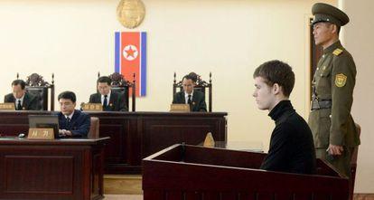 Matthew Todd Miller, em seu julgamento na Coreia do Norte.