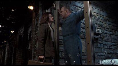 Jodie Foster e Anthony Hopkins numa imagem de 'O silêncio dos inocentes'.