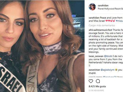 A selfie da Miss Iraque e da Miss Israel, no Instagram.