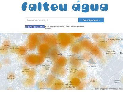 Capa do site que aponta os focos de falta de água em São Paulo.