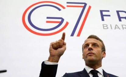 O presidente francês, Emmanuel Macron, em Biarritz