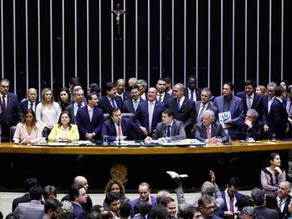 Deputados durante a votação do primeiro turno da reforma da Previdência.