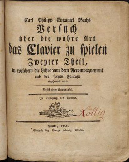 Segunda parte do 'Ensaio sobre a verdadeira arte de tocar os instrumentos de tecla' (1762).