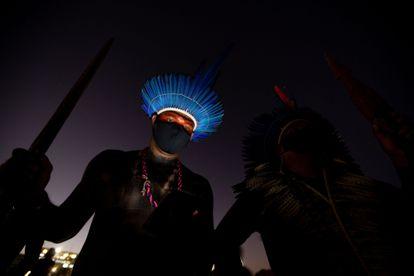 Indígenas protestam contra o Governo de Jair Bolsonaro em Brasília.