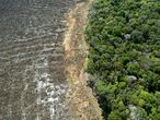 "(FILES) This file photo taken on August 07, 2020 shows an aerial view of a deforested area close to Sinop, Mato Grosso State, Brazil. - Brazilian President Jair Bolsonaro, promised on Tuesday that he will publish ""within the next few days"" a list of the countries that illegally import wood from the Brazilian Amazon, among which there are some of the most critical with his environmental stance. (Photo by Florian PLAUCHEUR / AFP)"