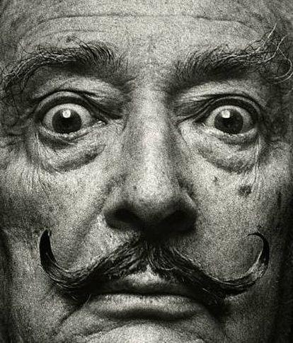 Primeiro plano de Salvador Dalí, em Madri, 1978.