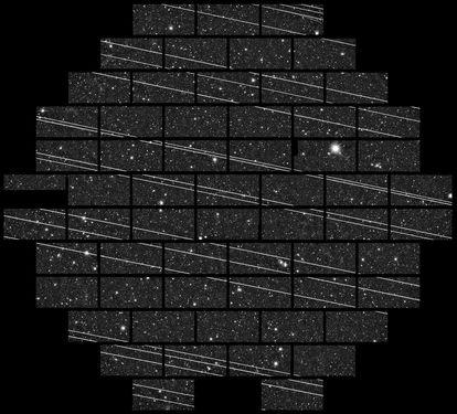 Uma vintena de satélites Starlink fotografados em novembro de 2019 no Observatório Interamericano Cerro Tololo (CTIO) pelos astrônomos Clara Martínez-Vázquez e Cliff Johnson.