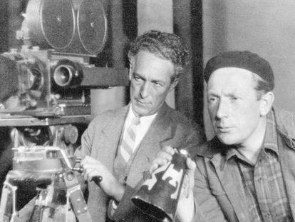 Murnau (à dir.), com seu câmera, Ernest Palmer, em 1928.