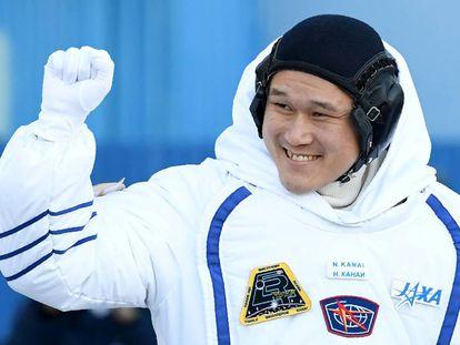 O astronauta japonês antes de ir para a ISS, em 17 de dezembro.