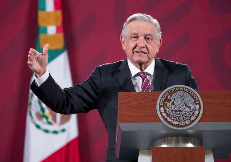 O presidente mexicano, Andrés Manuel López Obrador, numa coletiva na última segunda-feira no Palácio Nacional da Cidade do México.