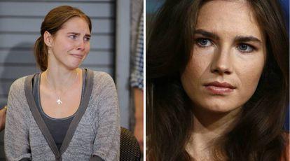 À esquerda, Amanda Knox durante um dos julgamentos pelo assassinato de Meredith Kerche em 2011, à direita, uma imagem atual numa entrevista concedida à TV.