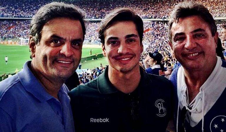 Aécio, Gustavo e Zezé Perrella no Mineirão.