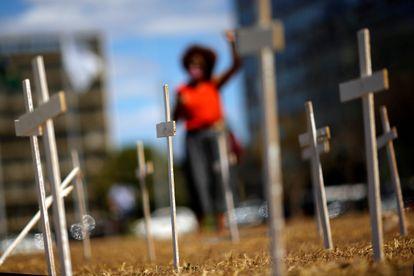 Protesto da Coalizão Negra por Direitos em Brasília, em agosto de 2020.