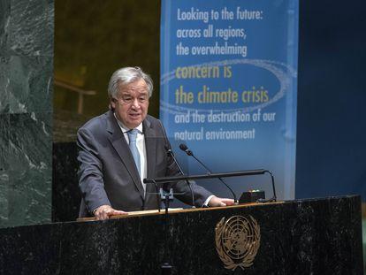 António Guterres, em seu discurso no 75º aniversário da ONU, nesta segunda-feira, em Nova York.