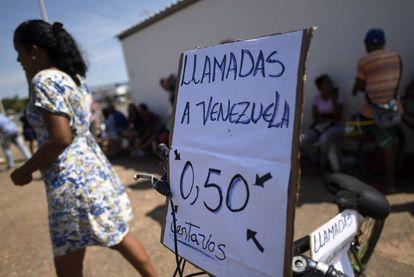 Local em Boa Vista oferece ligações à Venezuela.