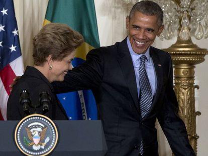 Rousseff e Obama na Casa Branca, nesta terça, 30.
