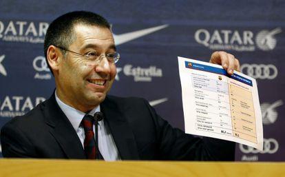 Josep Maria Bartomeu, antes da entrevista coletiva da tarde de hoje.