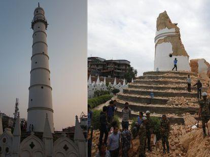 A torre Dharahara antes do terremoto, à esquerda, e depois, à direita.