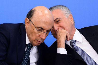 Meirelles e Temer durante encontro com empresários.