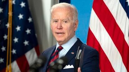 O presidente norte-americano, Joe Biden, na Casa Branca, em Washington, em 7 de abril.