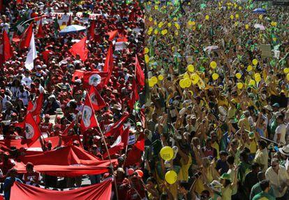Manifestantes contra e a favor do impeachment, em São Paulo (à esq.) e em Brasília.