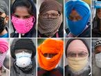 This combination photo shows pedestrians wearing different face protections against the coronavirus outbreak, all taken in the Southall area of London, Tuesday, May 5, 2020.  Face protections and masks have become compulsory in many parts of Europe where the COVID-19 lockdown is being relaxed, but the UK remains in lockdown and each person has discretion to wear the personal protection giving rise to many inventive variations. (AP Photo/Frank Augstein)