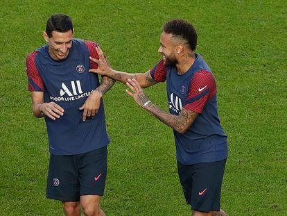Neymar e Di María, antes da final da Champions.