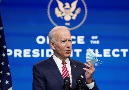 O presidente eleito, Joe Biden, durante um pronunciamento nesta segunda-feira, em Wilmington, Delaware.