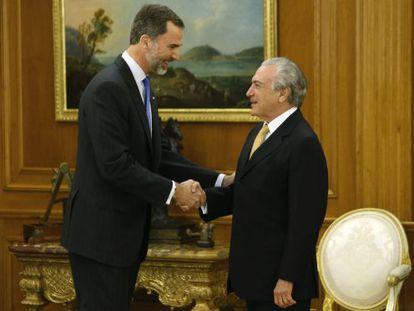 Felipe VI receber Michel Temer, nesta quarta.
