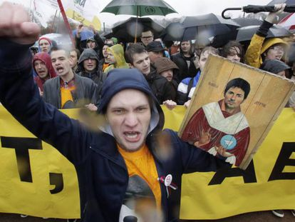 Protestos em São Petersburgo pelo bloqueio do Telegram em meio às manifestações pelo Dia do Trabalho, em 1º de maio