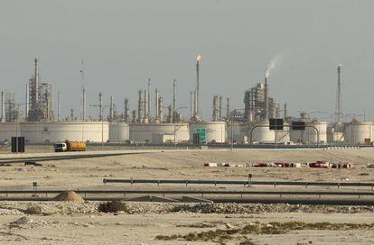 Uma refinaria de petróleo no Catar.