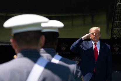Donald Trump na academia militar de West Point no sábado.