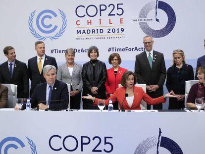 A presidenta da Câmara dos EUA, Nancy Pelosi, no COP25.