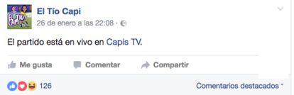 """""""O jogo está ao vivo na Capis TV"""""""