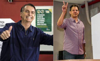 Bolsonaro e Haddad após votarem neste domingo.