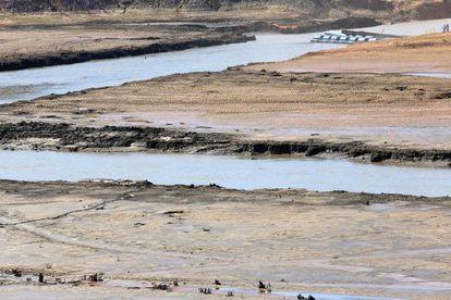 Reserva do volume morto da Represa Jaguari-Jacareí, em Joanópolis (SP), onde o volume de água armazenado é de apenas 16,6% da capacidade total.