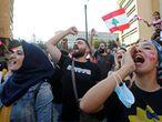 Manifestantes contra la corrupción en Líbano, el lunes en Beirut.