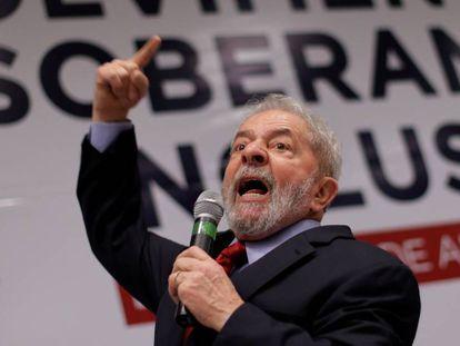 O ex-presidente Lula em evento do PT.