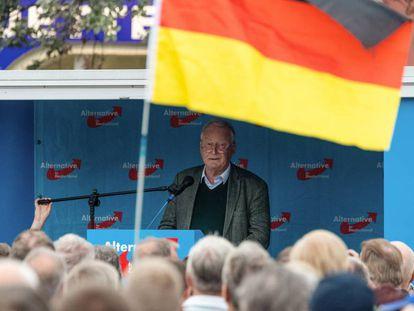Alexander Gauland, copresidente do AfD, em um ato de campanha em Bautzen (Saxônia).