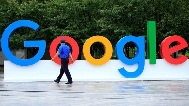 Logotipo da Google em uma conferência na China.