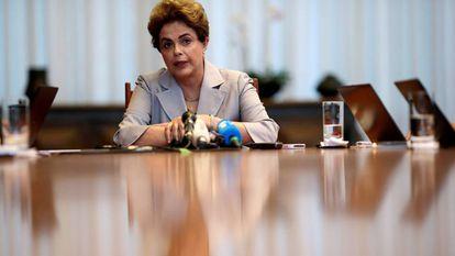 A presidenta afastada, em junho em Brasília.