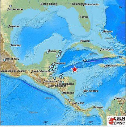 Mapa da localização do epicentro do sismo / EMSC.