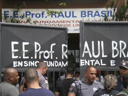 A Escola Estadual Raul Brasil, em Suzano, onde dois ex-alunos mataram cinco adolescentes e duas funcionárias.