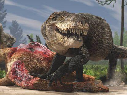Restauração paleoartística do Razanandrongobe sakalavae alimentando-se do cadáver de um saurópode.
