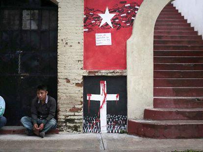 Mural lembra os estudantes assassinados em Tixtla.