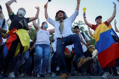 Protesto em Cali durante a manifestação da quarta-feira passada.