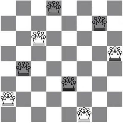 Uma solução em um tabuleiro de 8x8.