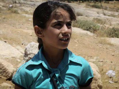 Menina palestina na Cisjordânia.
