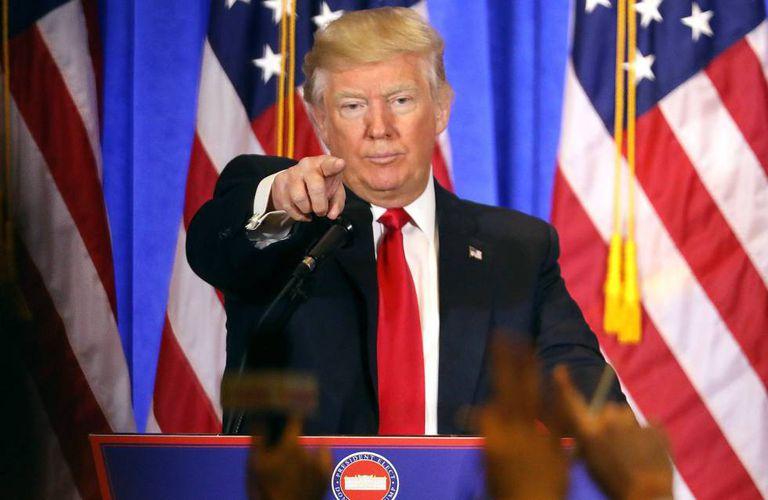O presidente eleito dos EUA, Donald Trump, em sua primeira entrevista coletiva, nesta quarta-feira.