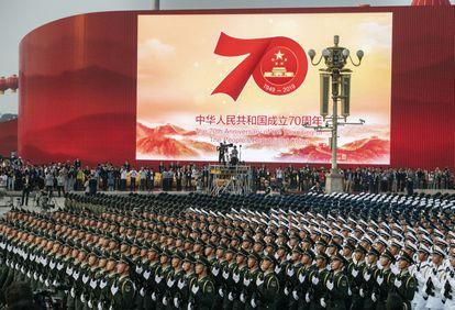 Militares chineses, em 1 de outubro do ano passado em Tiananmen, no último ensaio do desfile.